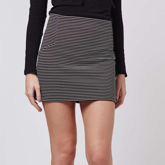 Topshop Dresses & Skirts - Topshop Black White Stripe Mini Skirt - Size 2 EUC